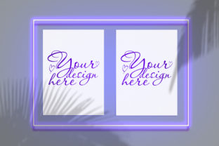 Mock Up Poster in a Neon Frame Graphic By Natalia Arkusha