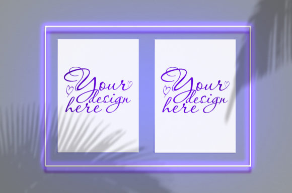 Download Free Mock Up Poster In A Neon Frame Grafico Por Natalia Arkusha for Cricut Explore, Silhouette and other cutting machines.