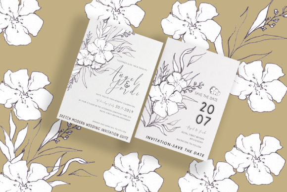 Download Free Floral Modern Wedding Invitation Suite Graphic By Sahlanrizky116 for Cricut Explore, Silhouette and other cutting machines.