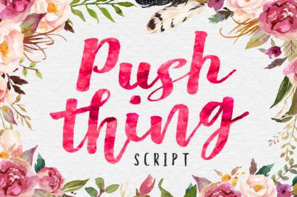 Print on Demand: Push Thing Script & Handwritten Font By Stripes Studio