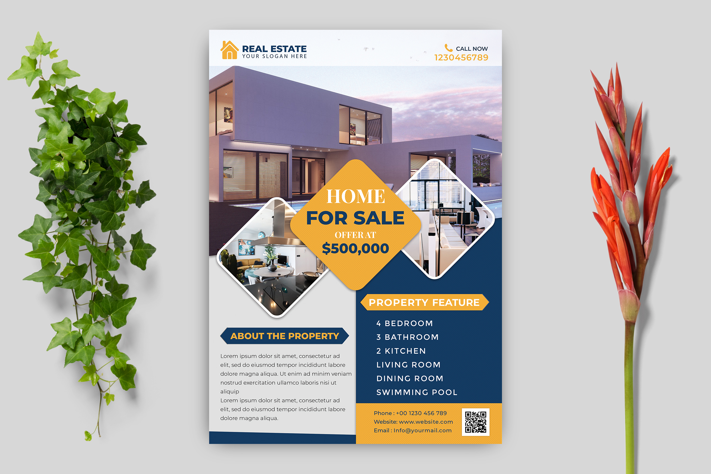 Download Free Real Estate Flyer Template Graphic By Goku4501 Creative Fabrica for Cricut Explore, Silhouette and other cutting machines.