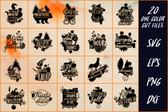 Download Free Set Of 20 Thanksgiving Sayings Graphic By Craft N Cuts for Cricut Explore, Silhouette and other cutting machines.