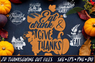 Set of 20 Thanksgiving Sayings Graphic By Craft-N-Cuts