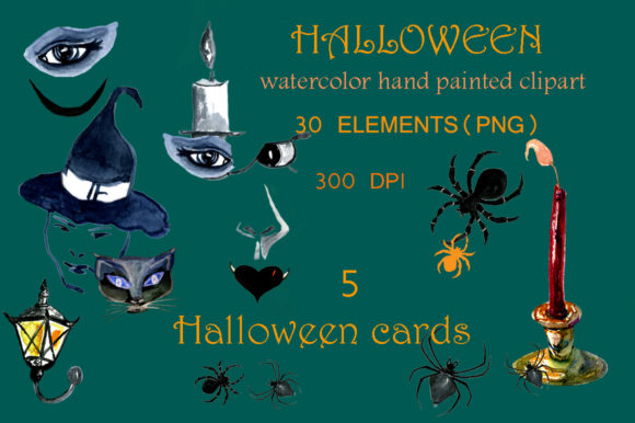 Download Free Set Of Watercolor Halloween Clipart Graphic By Kakva Creative for Cricut Explore, Silhouette and other cutting machines.
