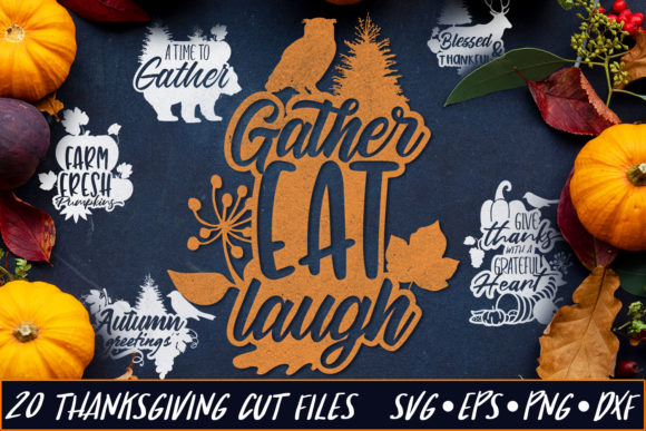 Download Free Thanksgiving Cut Files Pack 5 Graphic By Craft N Cuts Creative for Cricut Explore, Silhouette and other cutting machines.