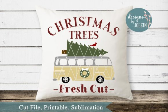 Print on Demand: Vintage Bus Christmas Design Graphic Crafts By Designs by Jolein