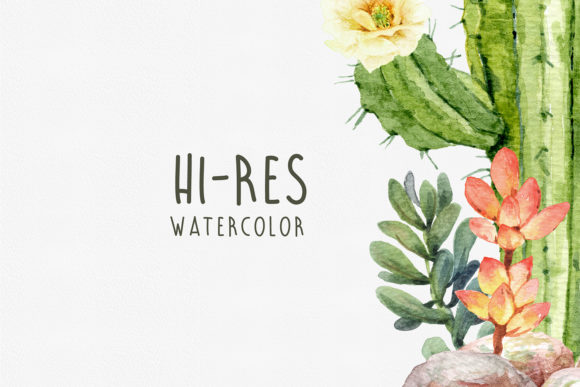Watercolor Cactus Cacti Succulent Graphic Design