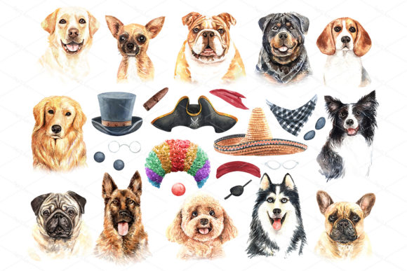 Print on Demand: Watercolor Dogs with Accessories Bundle Graphic Illustrations By SapG Art - Image 2