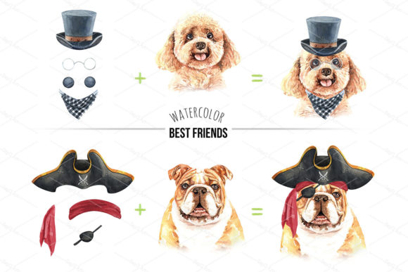 Print on Demand: Watercolor Dogs with Accessories Bundle Graphic Illustrations By SapG Art - Image 3