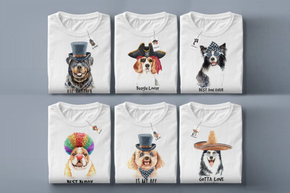 Print on Demand: Watercolor Dogs with Accessories Bundle Graphic Illustrations By SapG Art - Image 6