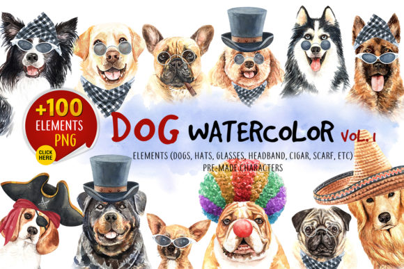Print on Demand: Watercolor Dogs with Accessories Bundle Gráfico Ilustraciones Por SapG Art