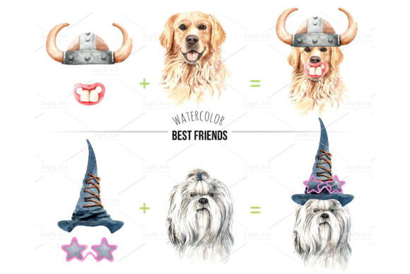 Watercolor Dogs with Accessories Bundle Part 2 Graphic By SapG Art Image 3