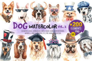 Watercolor Dogs with Accessories Bundle Part 2 Graphic By SapG Art
