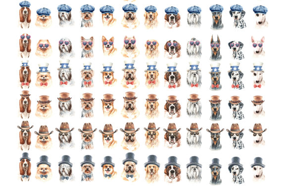 Watercolor Dogs with Accessories Bundle Part 2 Graphic By SapG Art Image 6