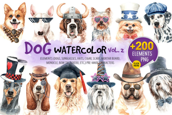 Print on Demand: Watercolor Dogs with Accessories Bundle Part 2 Graphic Illustrations By SapG Art