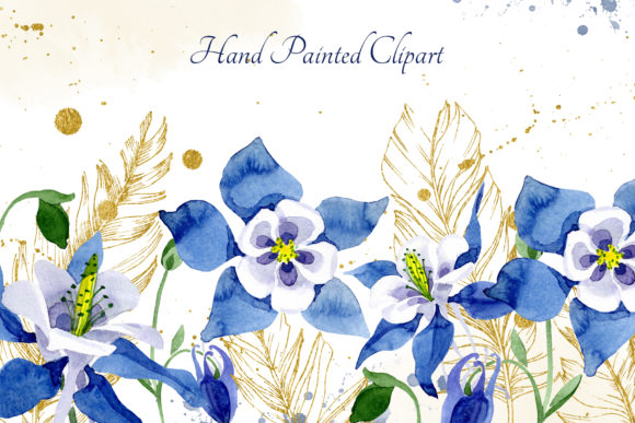 Print on Demand: Watercolor Flower Aquilegia Blue Png Graphic Illustrations By MyStocks - Image 2