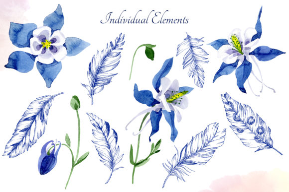Print on Demand: Watercolor Flower Aquilegia Blue Png Graphic Illustrations By MyStocks - Image 3