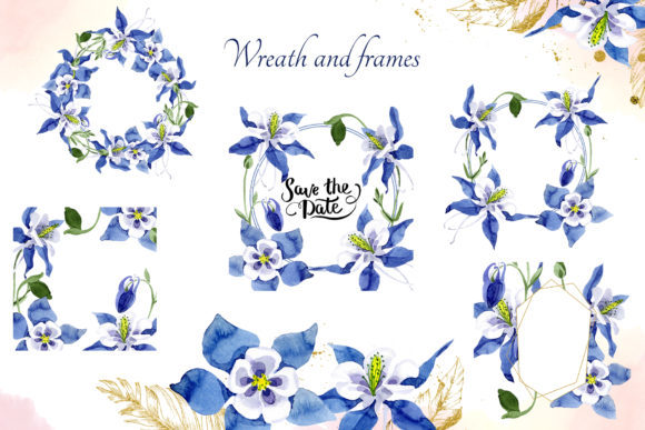 Print on Demand: Watercolor Flower Aquilegia Blue Png Graphic Illustrations By MyStocks - Image 5