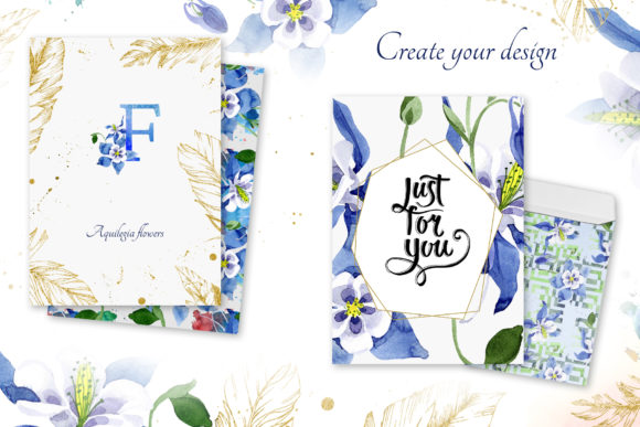 Watercolor Flower Aquilegia Blue Png Graphic By MyStocks Image 6