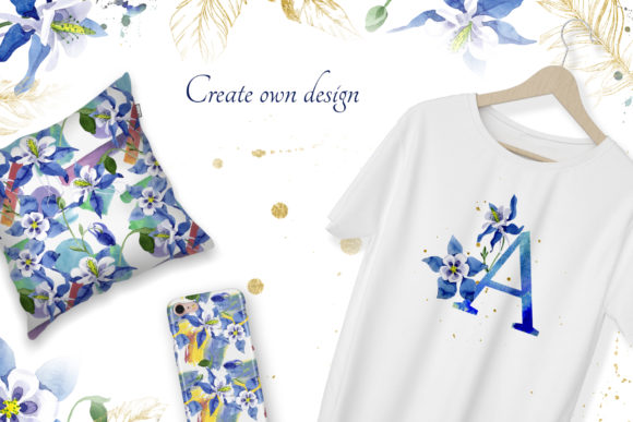 Print on Demand: Watercolor Flower Aquilegia Blue Png Graphic Illustrations By MyStocks - Image 7