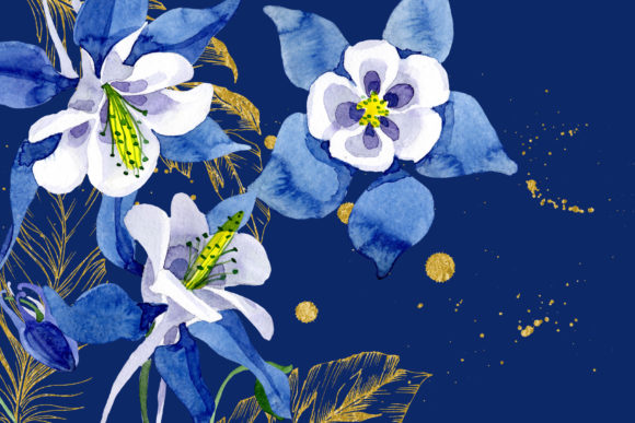 Print on Demand: Watercolor Flower Aquilegia Blue Png Graphic Illustrations By MyStocks - Image 8