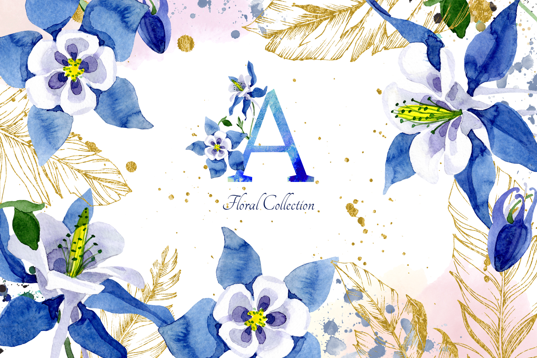 Download Free Watercolor Flower Aquilegia Blue Png Graphic By Mystocks for Cricut Explore, Silhouette and other cutting machines.