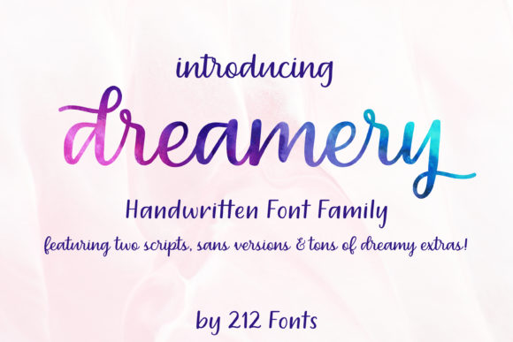 Print on Demand: Dreamery Family Script & Handwritten Font By 212 Fonts