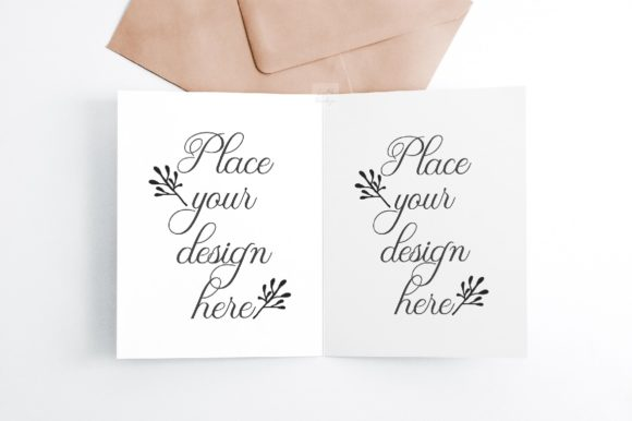 Print on Demand: A2 Open Greeting Card Mockup Psd Graphic Product Mockups By Leo Flo Mockups