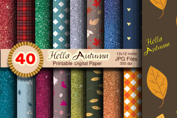 Print on Demand: Amazing Hello Autumn Printable Paper Graphic Patterns By dina.store4art