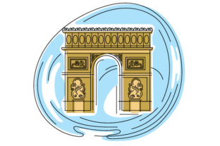 Arc De Triomphe in Abstact Print Art Style France Craft Cut File By Creative Fabrica Crafts