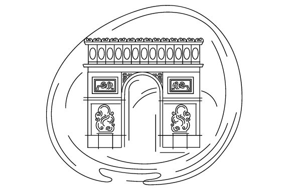 Arc De Triomphe in Abstact Print Art Style France Craft Cut File By Creative Fabrica Crafts - Image 2
