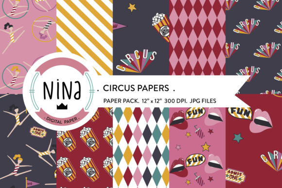 Download Free Circus Digital Paper Circus Scrapbook Graphic By Nina Prints for Cricut Explore, Silhouette and other cutting machines.