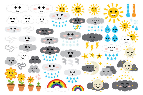 Print on Demand: Cute Weather Clip Art Set Graphic Illustrations By Running With Foxes - Image 2