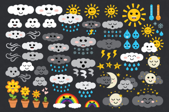 Print on Demand: Cute Weather Clip Art Set Grafik Illustrationen von Running With Foxes