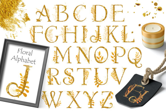 Gold Floral Alphabet Graphic Objects By EvgeniiasArt