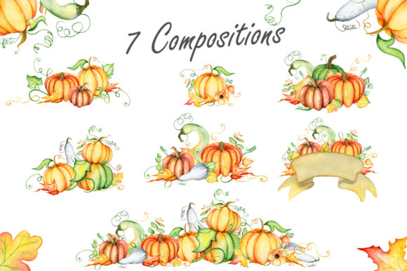 Happy Thanksgiving Pumpkins Watercolor Graphic By EvgeniiasArt Image 2