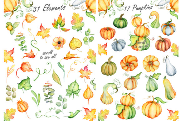 Happy Thanksgiving Pumpkins Watercolor Graphic By EvgeniiasArt Image 4
