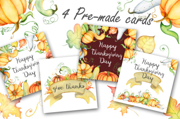 Happy Thanksgiving Pumpkins Watercolor Graphic By EvgeniiasArt Image 5