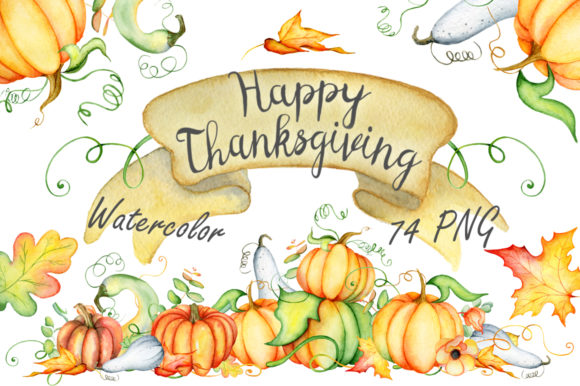Happy Thanksgiving Pumpkins Watercolor Graphic Illustrations By EvgeniiasArt