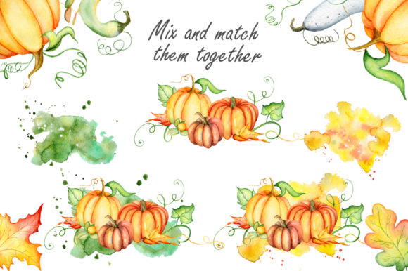 Happy Thanksgiving Pumpkins Watercolor Graphic By EvgeniiasArt Image 7