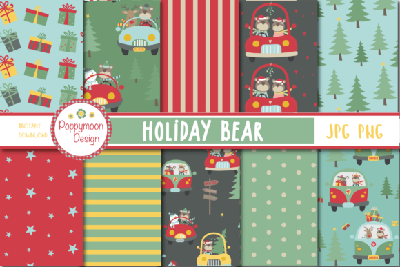 Print on Demand: Holiday Bear Paper Graphic Patterns By poppymoondesign