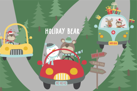 Print on Demand: Holiday Bear Graphic Illustrations By poppymoondesign