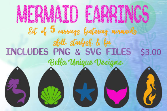 Mermaid Earrings Graphic Crafts By BellaUniquePrintique
