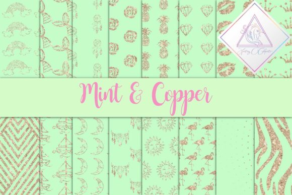 Print on Demand: Mint & Copper Digital Paper Graphic Backgrounds By fantasycliparts