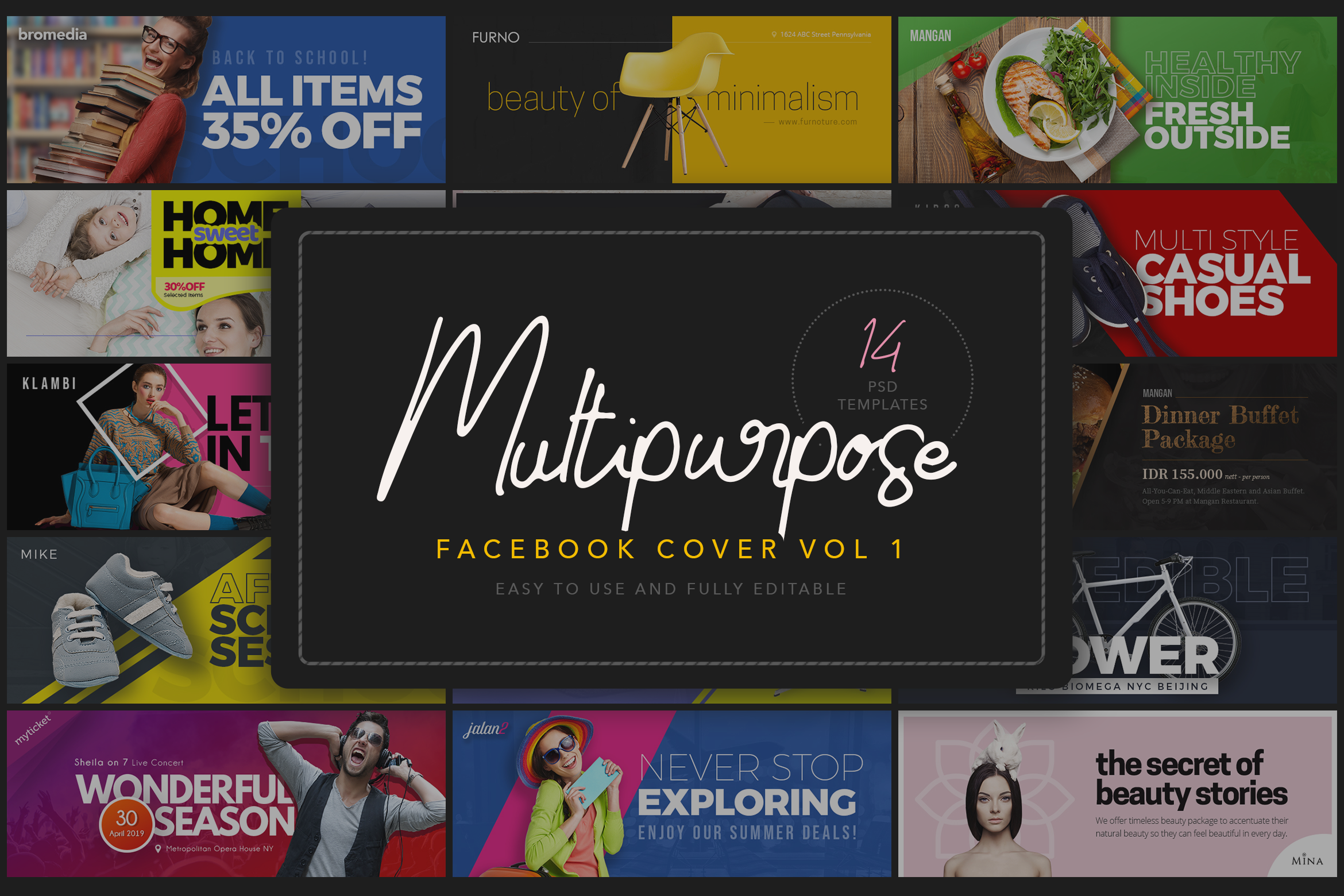Download Free Multipurpose Facebook Cover Template Graphic By Peterdraw for Cricut Explore, Silhouette and other cutting machines.