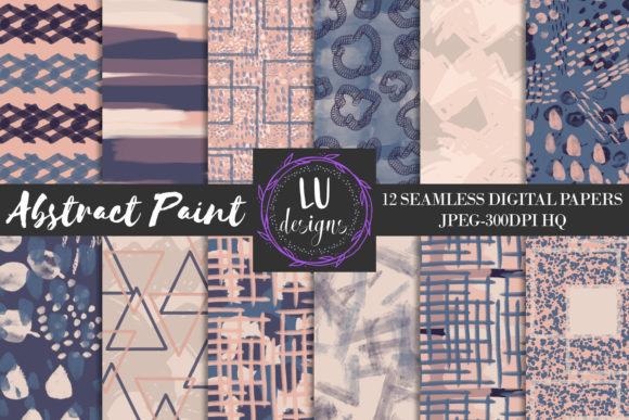 Navy and Nude Abstract Paint Patterns Graphic Backgrounds By Lu Designs