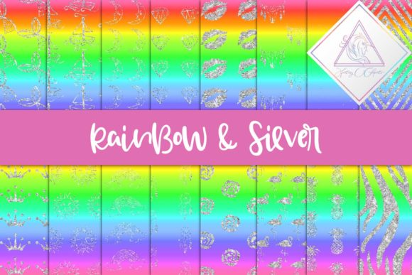 Print on Demand: Rainbow & Silver Digital Paper Graphic Backgrounds By fantasycliparts