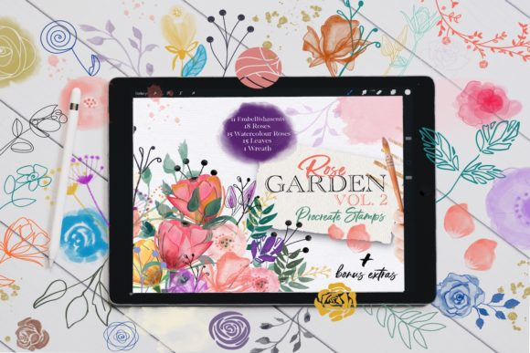 Rose Garden Procreate Stamps VOL. 2 Graphic Brushes By OkayAnnie Designs