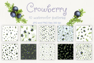 Set of 10 Watercolor Crowberry Patterns Graphic By Natalia Arkusha