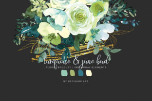 Watercolor Turquoise & June Bud Bouquet Graphic By Patishop Art